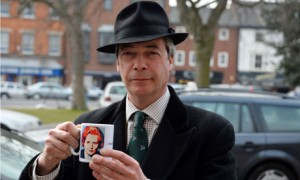 Nigel Farage with Thatcher mug