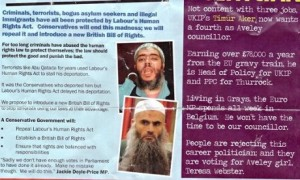 A section of the Conservative leaflet in which Tim Aker, whose father is Turkish, is called Timür